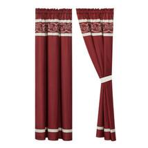 4-Pc Freya Curtain Set Drape|Scroll Embroidery Stripe|Rod Pocket|Burgundy Beige - $40.89