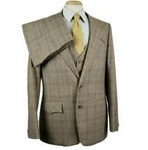 Vintage Lasso Western Wear 3pc Mens Suit 42L 34x32 Plaid Poly Wool Rocka... - $129.99