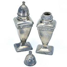 Vintage Silver Salt & Pepper Shaker Set Stamped 1030 image 9