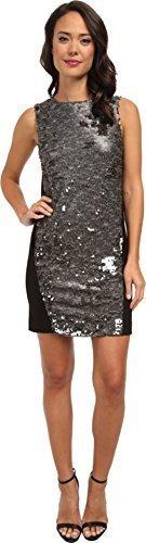 DKNYC Women's Textured Sequins w/ Ponte Back Dress Mink Dress 8