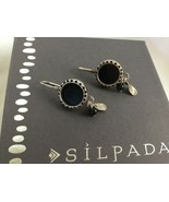 SILPADA Sterling Silver ROUND BLACK ONYX Charm Bead Drop EARRINGS W1093 - $54.15