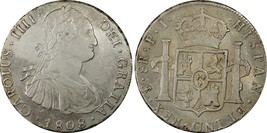 1808-PTS PJ Bolivia 8 Real World Silver Coin PCGS AU Details - CAROLUS IIII - $374.99