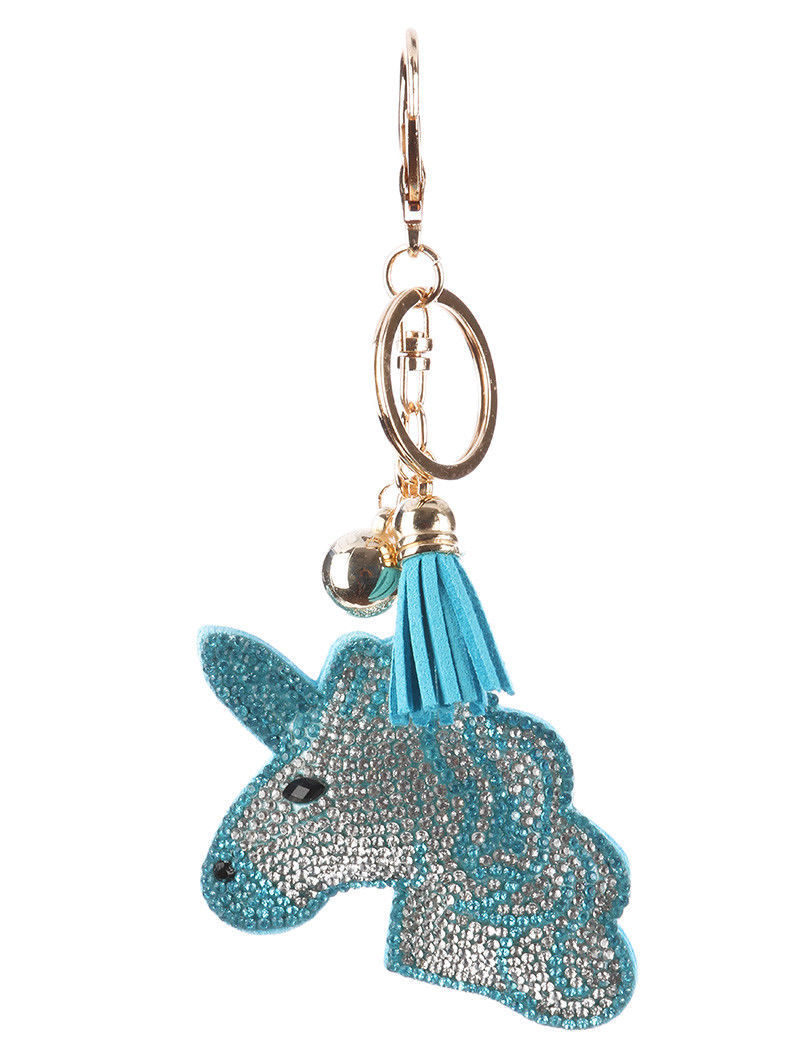 Tassel Bling Pave Crystal Blue Unicorn Pillow Key Chain Handbag Charm Key Fob