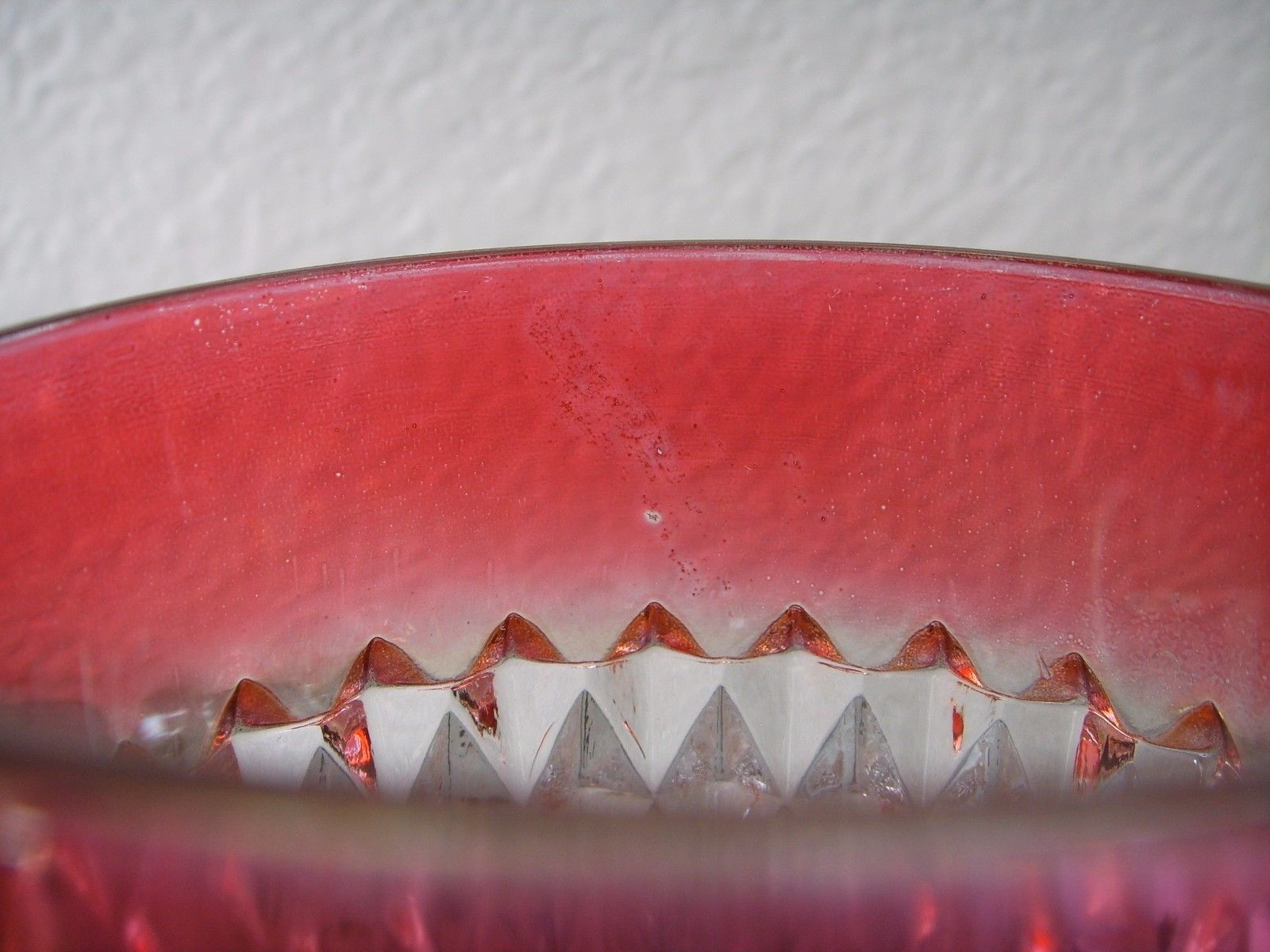 """2 Vintage Indiana Glass Diamond Point Ruby Band Cranberry Tumblers Glasses 3½"""""""
