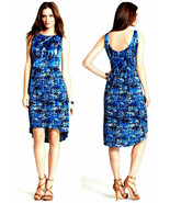 Ann Taylor Blue Dash Abstract Zip Up Sleeveless Pleated Hi-Low Dress - S... - $69.95