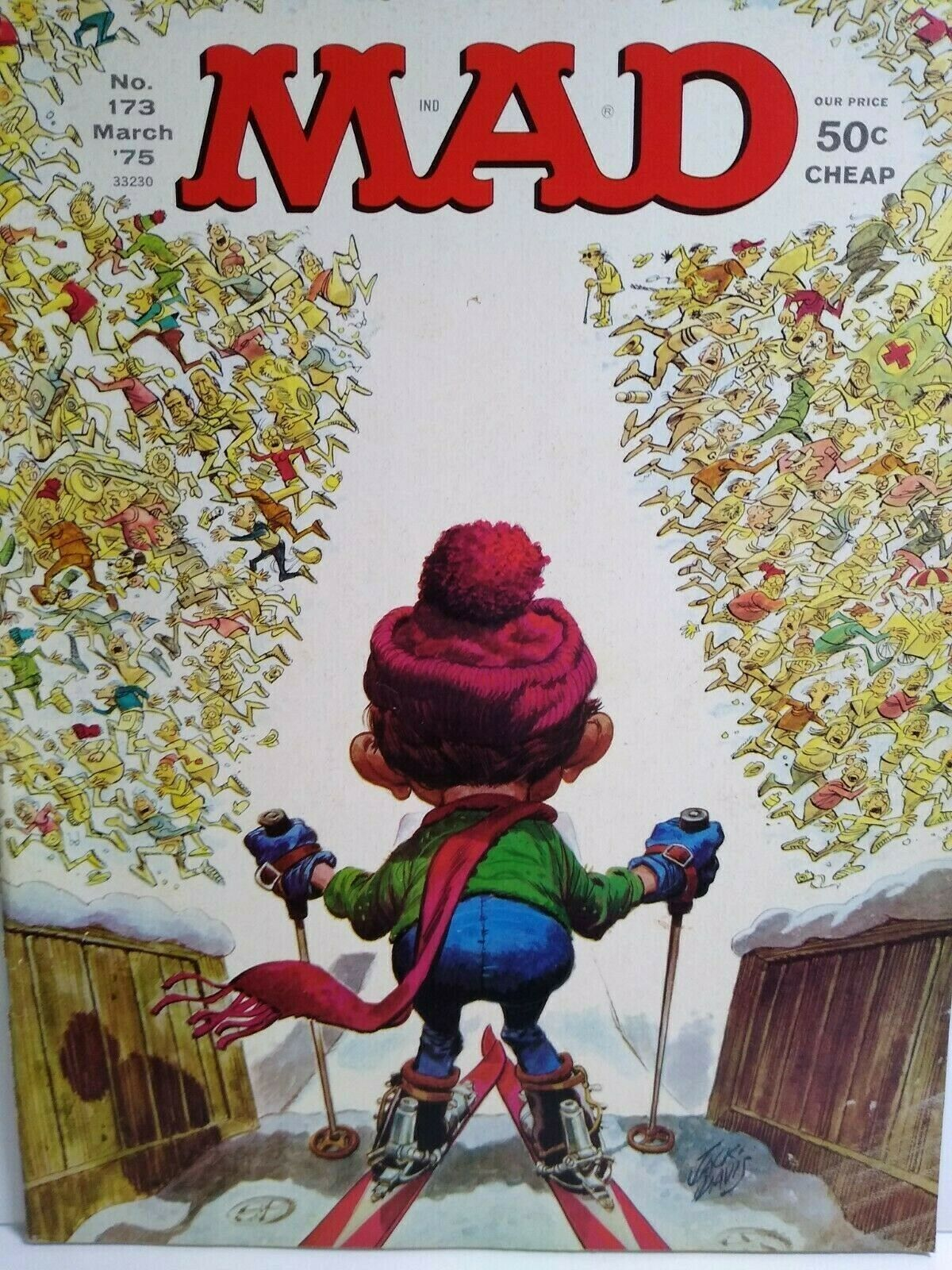 MAD Magazine March 1975 No 173 Alfred Skiing Down Slope Cover Comic Gift For Dad - $13.76