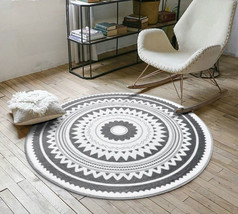 Nordic Gray Fashion Round Carpets For Living Room Area Rug Kids Play Floor Mats - $28.04+