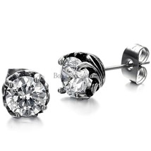 1.25 Carat Round Cut Clear Cubic Zirconia Stud Earrings Stainless Steel Fashion - $22.50