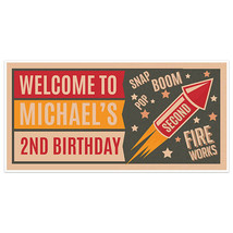Vintage Fireworks Birthday Banner Personalized Party Backdrop Decoration - $22.28+