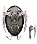 Decorative Collectible Fantasy 2 Dragon Short Swords w Display Plaque  - $48.99