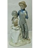 Vintage Sanbo Valencia Spain Porcelain Figurine Boy & Girl with Duck - $24.75