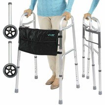Vive Folding Walker Plus Bag and 2 Wheels - Front Wheeled Support Narrow... - $92.87