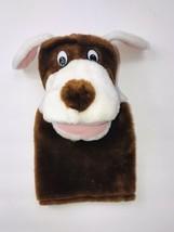 Lillian Vernon Brown Wide Puppy Dog Hand Puppet Plastic Eyes Plush Stuffed Soft - $21.77