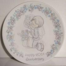 """Vintage 1989 Precious MOMENTS-HAPPY 40th Anniversary Mini PLATE--4""""--ENESCO - $5.00"""