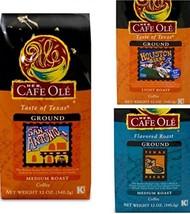 Cafe Ole GROUND Coffee Variety Pack San Antonio; Houston and Texas Pecan 12 oz.  - $38.99