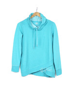 NWT CK Calvin Klein Women Cowl Funnel Neck Bright Blue Waffle Pullover S... - $39.99