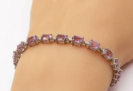 925 Sterling Silver - Vintage Shiny Oval Cut Amethyst Tennis Bracelet - ... - $47.22