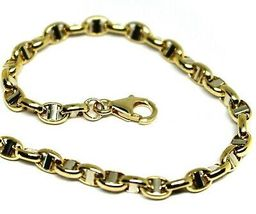 """18K YELLOW WHITE GOLD CHAIN SAILOR'S NAUTICAL MARINER BIG OVAL 4mm LINK, 20"""" image 3"""