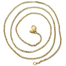 """SOLID 18K TWO TONE GOLD, 1.5 MM SIDE DIAMOND CUT ROLO CABLE CHAIN, BRIGHT 18"""" image 1"""