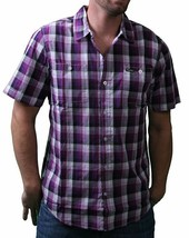 LRG Mens Interstate Short Sleeve Purple or Turquoise Woven Button Up Down Shirt image 2
