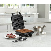 Belgian Waffle Maker Non Stick Stainless Steel 4 Slice Light Indicator 5... - $83.71 CAD