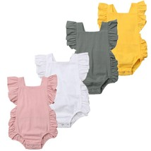 Newborn Infant Baby Girl Solid Ruffle Sleeveless Romper Jumpsuit Outfits... - $9.69