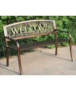 NEW Welcome Outdoor Garden Bench Park Lawn Patio Furniture Bronze Metal ... - $170.03