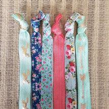 Set of 6 Elastic Headbands - Horse - Floral - Aqua - Gold - Tribal - Pink Floral image 2