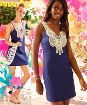 $198 Lilly Pulitzer Largo True Navy Gold Lace Embroidered Shift Dress - $148.50