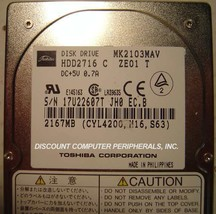 2GB 2.5in 12.7MM IDE Drive Toshiba HDD2716 MK2103MAV Tested Good Free US... - $48.95