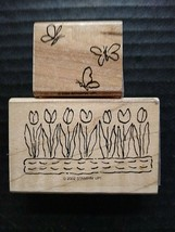 Stampin' Up Rubber Stamp Lot Floral Row Of Tulips Flowers Butterflies 2002  - $11.14
