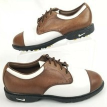 Nike Air Womens 7 Golf Shoes Soft Spikes Leather Oxford White Brown 9805... - $21.99