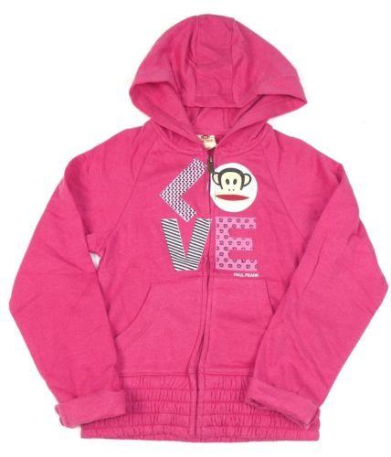 Girl's 4-6x Paul Frank Hoodie Full Zip Hooded Sweatshirt Julius Monkey Love NEW