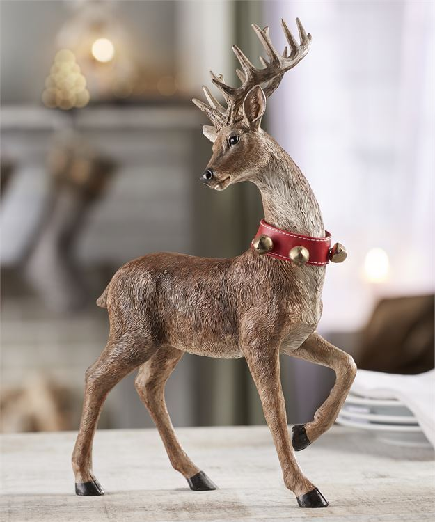 "13.86"" Brown Reindeer with Red Collar & Jingle Bell Design Accents"