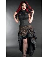 Bronze Black Brocade Ruffle Trim Corset Back Long 3 Layer Victorian Goth... - $69.30
