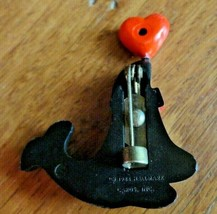 Black seal 1984 red heart pin Hallmark Cards vintage bowtie collectible  - $11.00