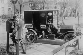 Mailman at Post Box with his truck parked at the curb - Art Print - $19.99+
