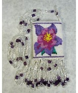 BEAUTIFUL CRYSTAL DELICA GLASS BEAD AMULET BAG HAND MADE COLUMBINE FLOWER - $148.49