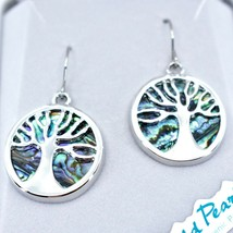 A.T. Storrs Wild Pearle Abalone Shell Tree of Life Hook Earrings image 2