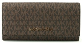 Michael Kors Large Brown Monogram PVC Carryall Flap Purse Wallet - $184.98