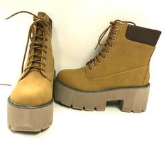 Qupid Women's Ankle Length Lace Up Boots Stack 01, Camel Nubuck PU, US 5 - $34.64