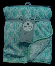 NWT Carter's Cozy Sherpa Blanket Green Geometric Baby Nursery Soft Cotto... - $19.79