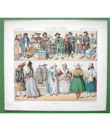 COSTUME of Germany Bavaria Catholics Protestants - RACINET Color Litho P... - $14.85