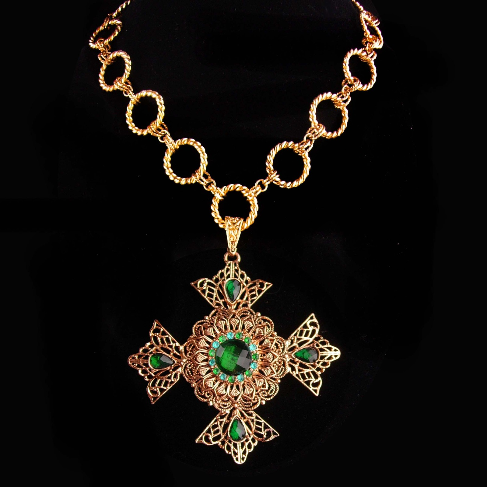 Primary image for Huge Maltese Cross necklace - Green Celtic cross - medieval necklace - renaissan