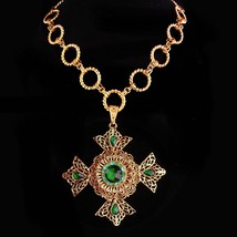 Huge Maltese Cross necklace - Green Celtic cross - medieval necklace - r... - $285.00