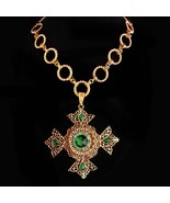 Huge Maltese Cross necklace - Green Celtic cross - medieval necklace - r... - $285.00