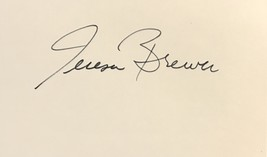 Teresa Brewer Autographed Hand Signed 3x5 Index Card American Singer w/COA - $19.99