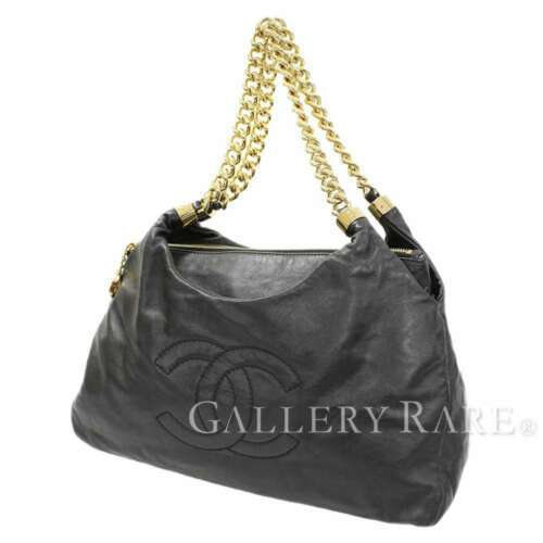 CHANEL Chain Tote Bag Calf Leather Black CC Logo Chain Italy Authentic 5322886