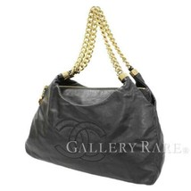 CHANEL Chain Tote Bag Calf Leather Black CC Logo Chain Italy Authentic 5... - $1,450.83