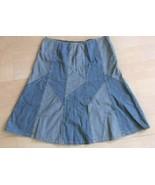 Womens Context Brand Panel/Patchwork Blue Denim Skirt Size 8 Modest - $11.87